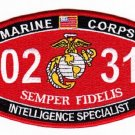 "USMC ""INTELLIGENCE SPECIALIST"" 0231 MOS MILITARY PATCH SEMPER FIDELIS"
