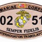 USMC 0251 INTERROGATOR TRANSLATOR MOS MILITARY PATCH - SEMPER FIDELIS - DESERT
