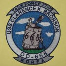 USS CLARENCE K BRONSON (DD-668) TASK FORCE 77 & 99 KOREA MILITARY PATCH