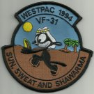 WESTPAC 1994 VF-31 TOMCATTERS MILITARY PATCH SUN SWEAT AND SHAWARMA FELIX CAT