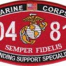 "USMC ""LANDING SUPPORT SPECIALIST"" 0481 MOS MILITARY PATCH SEMPER FIDELIS"