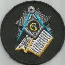 FREEMASONS MASONIC SQUARE & COMPASS W/BIBLE MOTORCYCLE BIKER JACKET VEST PATCH S