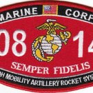 "USMC ""HIGH MOBILITY ARTILLERY ROCKET SYS"" 0842 MOS MILITARY PATCH SEMPER FIDELIS"