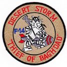 "US NAVY F-14 Aviation Air TOMCAT Military Patch DESERT STORM ""THIEF OF BAGHDAD"""