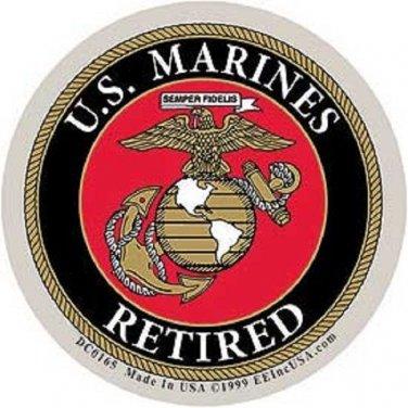 US MARINES RETIRED USMC MILITARY CAR VEHICLE WINDOW DECAL PATRIOTIC STICKER