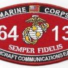 "USMC ""AIRCRAFT COMMUNICATIONS EA-6"" 6413 MOS MILITARY PATCH SEMPER FIDELIS"