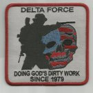 DELTA FORCE - DOING GOD'S DIRTY WORK - DEATH SKULL MORALE COMBAT MILITARY PATCH