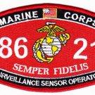 "USMC ""SURVEILLANCE SENSOR OPERATOR"" 8621 MOS MILITARY PATCH SEMPER FIDELIS"
