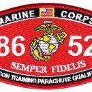 "USMC ""RECON TRAINING PARACHUTE QUALIFIED"" 8652 MOS MILITARY PATCH SEMPER FIDELIS"