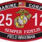 "USMC ""FIELD WIREMAN"" 2512 MOS MILITARY PATCH SEMPER FIDELIS MARINE CORPS"