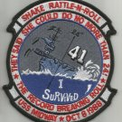 """USS MIDWAY CV-41 """"I SURVIVED 24 DEGREE ROLL SHAKE RATTLE N ROLL"""" MILITARY PATCH"""