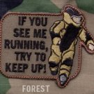 EOD RUNNING - FOREST- TACTICAL COMBAT BADGE OIF OEF MORALE VELCRO MILITARY PATCH