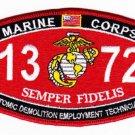 """USMC """"ATOMIC DEMOLITION EMPLOYMENT TECH"""" 1372 MOS MILITARY PATCH SEMPER FIDELIS"""