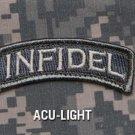 INFIDEL ROCKER TAB ACU LIGHT COMBAT TACTICAL BADGE MORALE VELCRO MILITARY PATCH