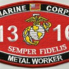 "USMC ""METAL WORKER"" 1316 MOS MILITARY PATCH SEMPER FIDELIS MARINE CORPS"