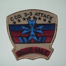 """3-3rd C Co ARMY AVIATION ATTACK MILITARY PATCH """"BLUE MAX"""" BROWN/BLUE"""