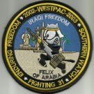 WESTPAC 2002 - 2003 VF-31 FELIX OF ARABIA OIF OEF SOUTHERN WATCH MILITARY PATCH