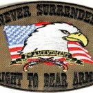 NEVER SURRENDER RIGHT TO BEAR ARMS MOTORCYCLE BIKER JACKET VEST MILITARY PATCH O