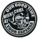 OUR GOOD TIME SKULL MOTORCYCLE BIKER JACKET LEATHER VEST MORALE MILITARY PATCH
