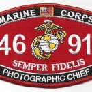 "USMC ""PHOTOGRAPHIC CHIEF"" 4691 MOS MILITARY PATCH SEMPER FIDELIS MARINE CORPS"