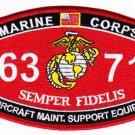 "USMC ""Aircraft Maintenance Support Equipment"" 6371 MOS MILITARY PATCH SEMPER FI"