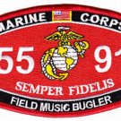 "USMC ""FIELD MUSIC BUGLER"" 5591 MOS MILITARY PATCH SEMPER FIDELIS MARINE CORPS"