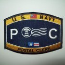 """US NAVY """"POSTAL CLERK"""" MILITARY RATINGS MOS PATCH  -  PC"""