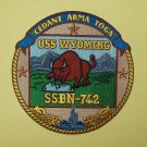 "5"" USS WYOMING SSBN - 742 SUBMARINE MILITARY PATCH ""CEDANT ARMA TOGA"""