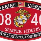 "USMC ""ARTILLERY SCOUT OBSERVER"" 0846 MOS MILITARY PATCH SEMPER FIDELIS"