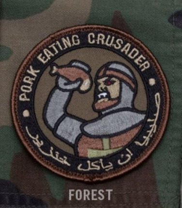 PORK EATING CRUSADER - FOREST - TACTICAL BADGE MORALE VELCRO MILITARY PATCH