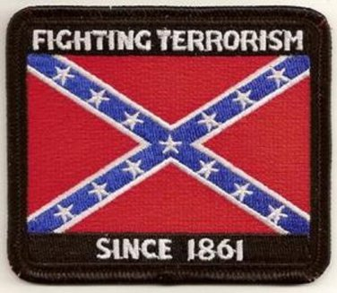 FIGHTING TERROR SINCE 1861 REBEL FLAG MOTORCYCLEBIKER JACKET VEST MILITARY PATCH