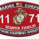 "USMC ""HYGIENE EQUIPMENT OPERATOR"" 1171 MOS MILITARY PATCH SEMPER FIDELIS"