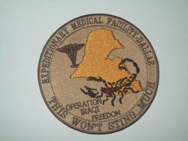 US ARMY Expeditionary Medical Facility Dallas OIF OEF Military Patch STING MUCH