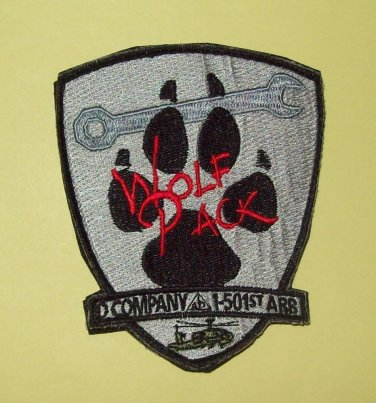 """D CO 1-501st AIRBORNE """"VELCRO"""" - WOLF PACK - MILITARY PATCH"""