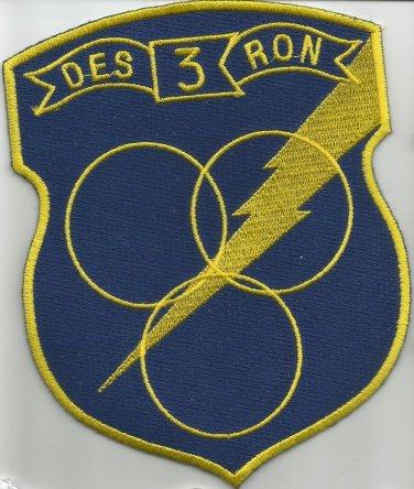 US NAVY DESRON 3 Destroyer Squadron Military Patch Insignia - NAVY BLUE