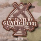 21st CENTURY GUNFIGHTER Badge Velcro Military Morale Patch - DESERT