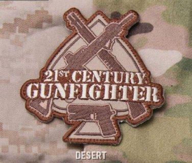 21st CENTURY GUNFIGHTER Badge Velcro Military Morale Patch - DESERT