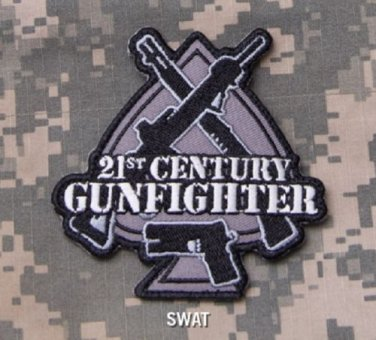 21st CENTURY GUNFIGHTER Badge Velcro Military Morale Patch - SWAT