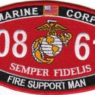 0861 Marine MOS FIRE SUPPORT MAN USMC Military Patch