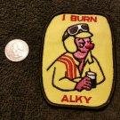 Vintage 1970s racing I BURN ALKY jacket vest HOTROD ratfink sew on patch