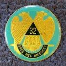 Masonic Metal Enamel Auto Emblem 32nd Spes mea In Deo EST Mason Coin