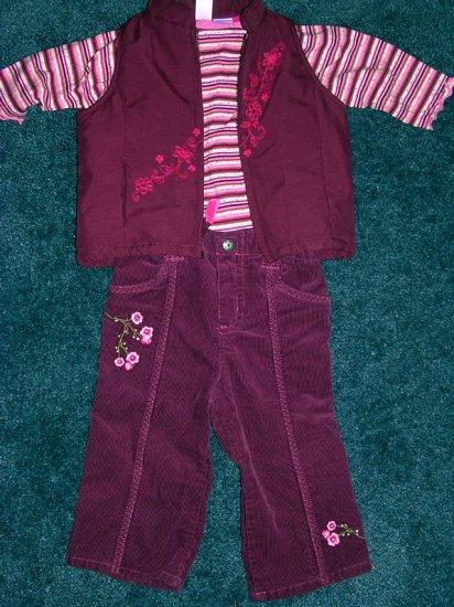 Carter's 3pc cords,vest, top set 12 months