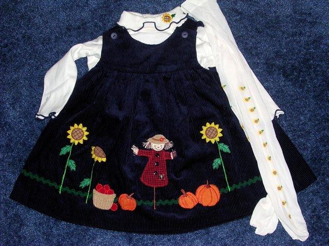 Fall scene dress, onesie, tights like new 12 months