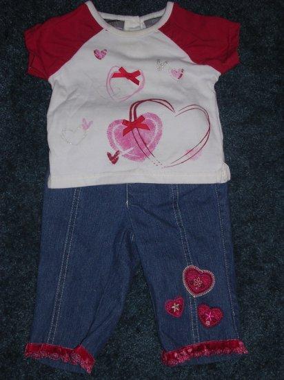 Heart jeans, tee, cord shirt set 12 months