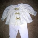 Lace top, gold bow top pants set 3-6 months