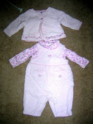 3pc pink quilted set 0-3 months