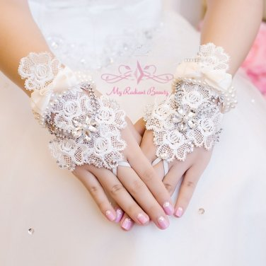 Luxurious Pearl Wedding Gloves Lace Floral Rhinestone Fingerless Bridal Gloves BG0002