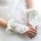 Luxurious Big Drop Rhinestone Bridal Fingerless Gloves Handmade Lace Short Gloves BG0003
