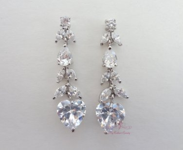 Stunning Love Heart Earrings with Cubic Zirconia Dangle Earring ER0012