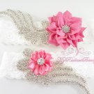 Double Wings Rhinestone with Chic Shabby Satin Pink Flower Garter, Wedding Bridal Garters, GTF0007P